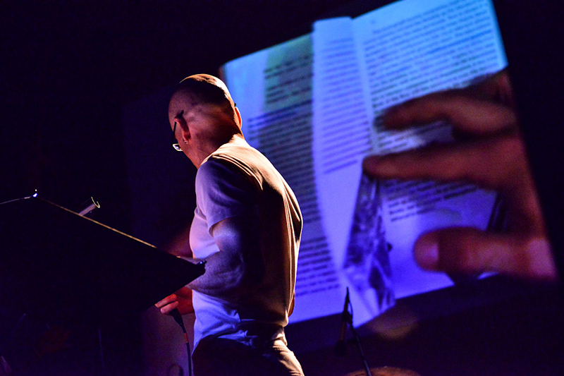 Jeffrey Schnapp, performing with The Masses. Image Credit: @Mito Festival, Milan 2012.