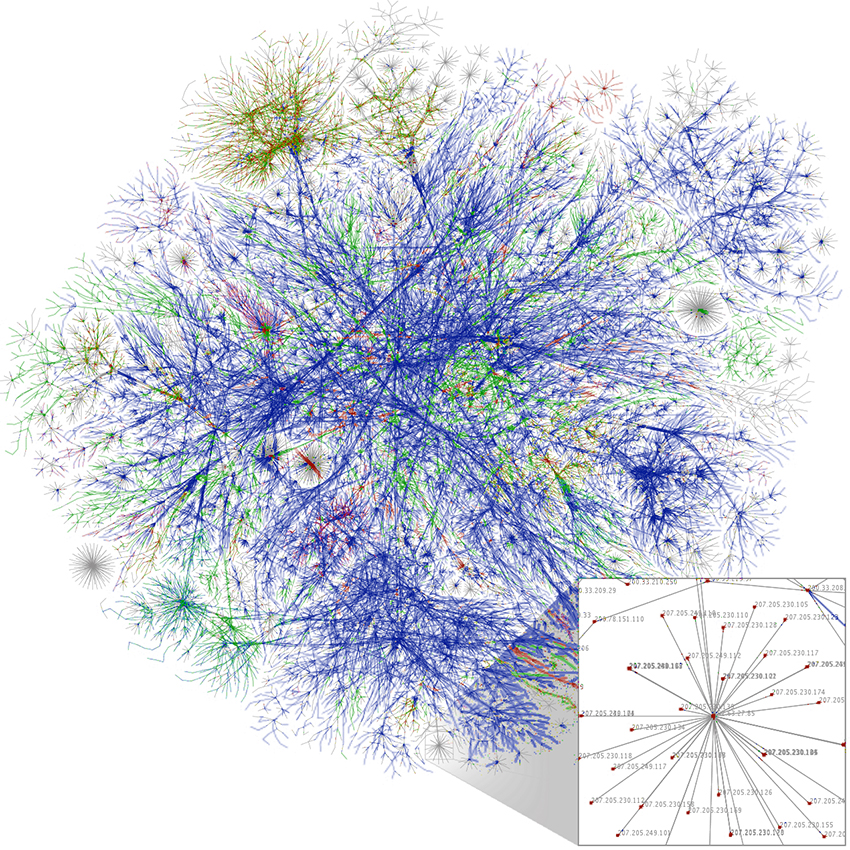"""Example of Data Analytics Visualization. """"Internet map 1024 - transparent"""" by The Opte Project. Licensed under Creative Commons Attribution 2.5 via Wikimedia Commons."""