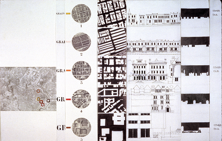 "Denise Scott Brown, Form, Forces and Functions Studio, Penn 1964.  District scale details, diagrams, and elevations from Scott Brown's graduate thesis project illustrating the relationship between a ""capital web"" and ""thematic units"" related to building usage in West Philadelphia. Image courtesy of Denise Scott Brown."