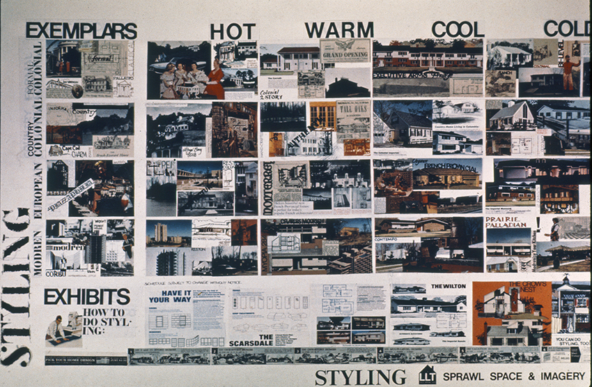 Denise Scott Brown and Robert Venturi, Learning from Levittown, Yale 1970.  Photographs and advertisements that depict Styling, Sprawl, Space, & Imagery, while also comparing popular residential styles against the hot and cool media categories of Marshall McLuhan. Image courtesy of Denise Scott Brown.