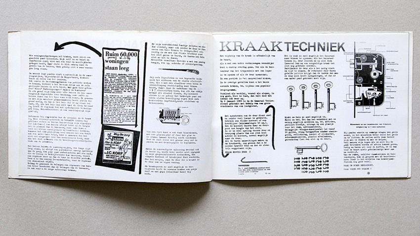 """Squatting"" or ""housebreaking"" technique illustrated through instructions for picking locks and breaking into buildings, Handleiding Krakers (Amsterdam: Federatie Onafhankelijke Vakgroepen & Buro de Kraker, 1969)."