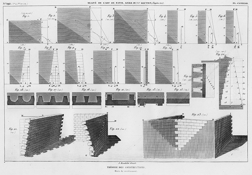 Theorie des Constructions, Murs de revêtement. Walls and Cladding from Traité théorique et pratique de l'art de bâtir (Paris : Chez l'auteur, 1812).