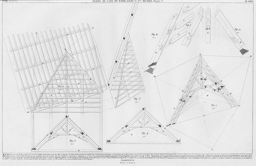 Charpente, Nous et Noulets. Wood-Framing from Traité théorique et pratique de l'art de bâtir (Paris : Chez l'auteur, 1812).
