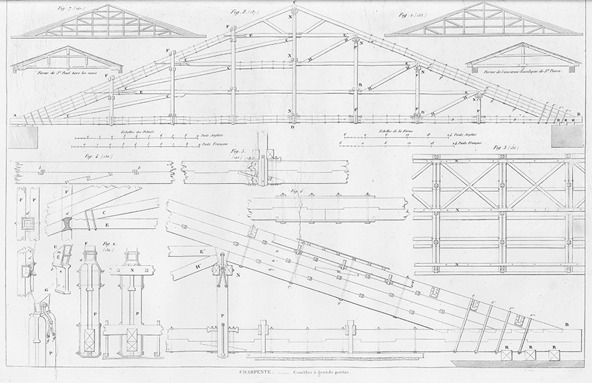 Charpente, Combles à grande portée. Wood-Framing for roof with an attic from Traité théorique et pratique de l'art de bâtir. (Paris : Chez l'auteur, 1812)]