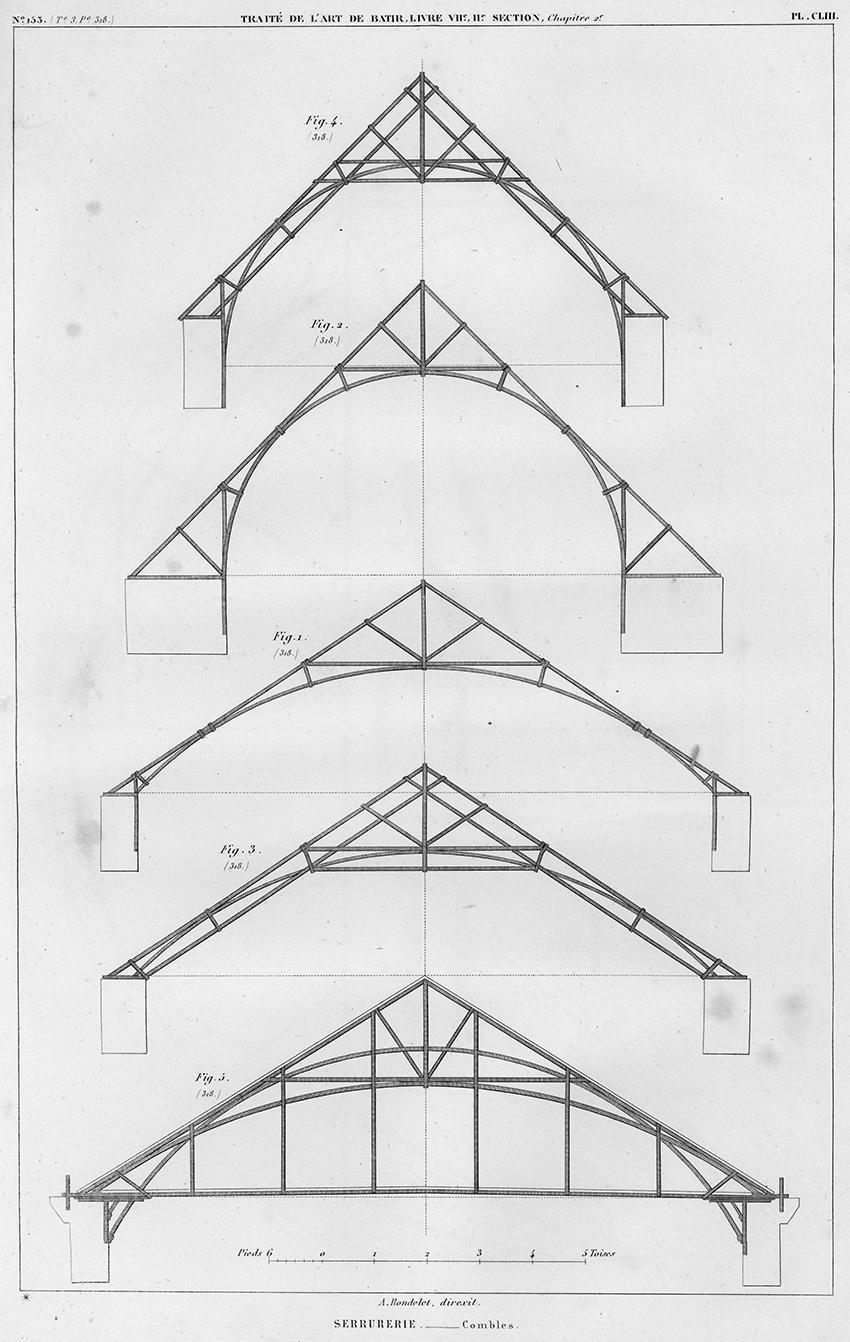 Serrurerie, Combles. Iron framed roofs from Traité théorique et pratique de l'art de bâtir (Paris : Chez l'auteur, 1812).