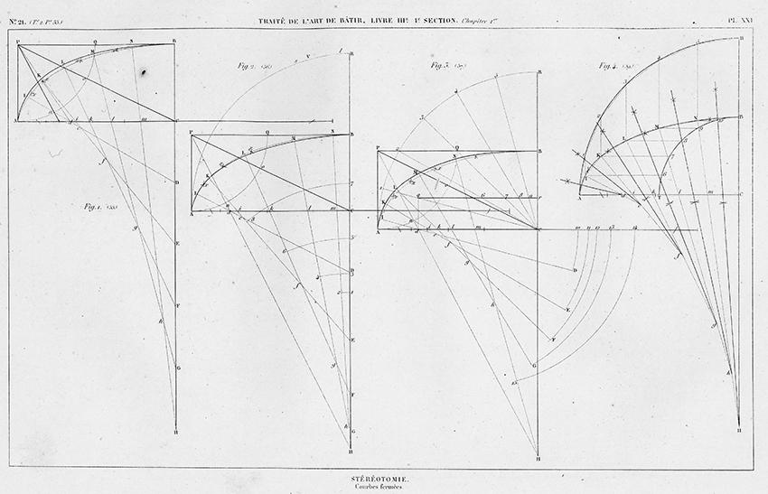 Stéréotomie, Courbe fermées. Closed Curves from Traité théorique et pratique de l'art de bâtir (Paris : Chez l'auteur, 1812).
