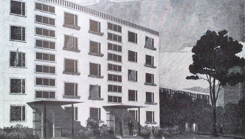 Rendering of experimental building constructed from plastic panels, by architects Boris Iofan, V. Kalinin, and D. Alekseev, 1961. From Dmitri Airapetov's Plastmassy v arkhitekture [Plastics in architecture] (Moscow: Stroiizdat, 1981).