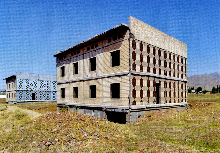 Large panel experimental residential building in Angren, Uzbekistan (not completed), ca. mid 1960s. Courtesy of Philip Meuser, 2014.