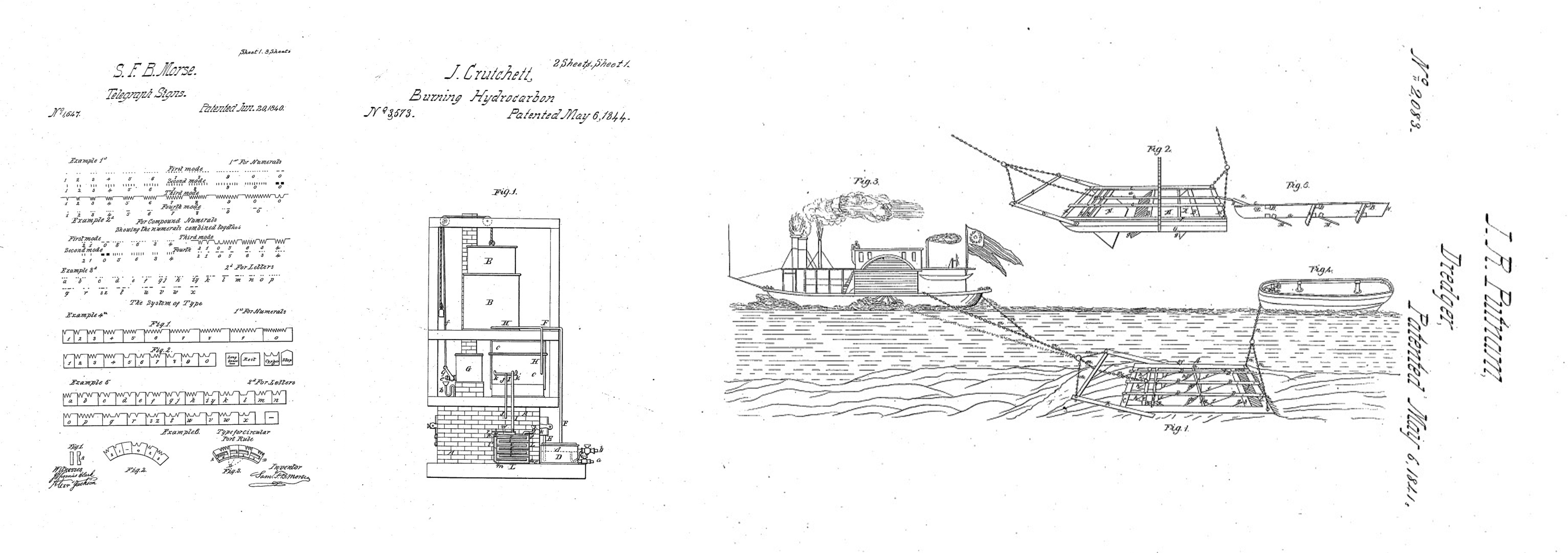 The US Government has, in the past, actively promoted innovation in physical infrastructure through licensing agreements with patent holders. A short list is shown here. Left: prototyping the telegraph system invented by Samuel B. Morse (US1647). Middle: evaluating the viability of artificial light in the urban environment using a method for burning hydrocarbon developed by James Crutchett (US3573). Right: Conducting experimental trials of J.R. Putnam's dredge machine for the removal of mud clumps at the mouth of the Mississippi River (US2083). Images from USPTO.gov.