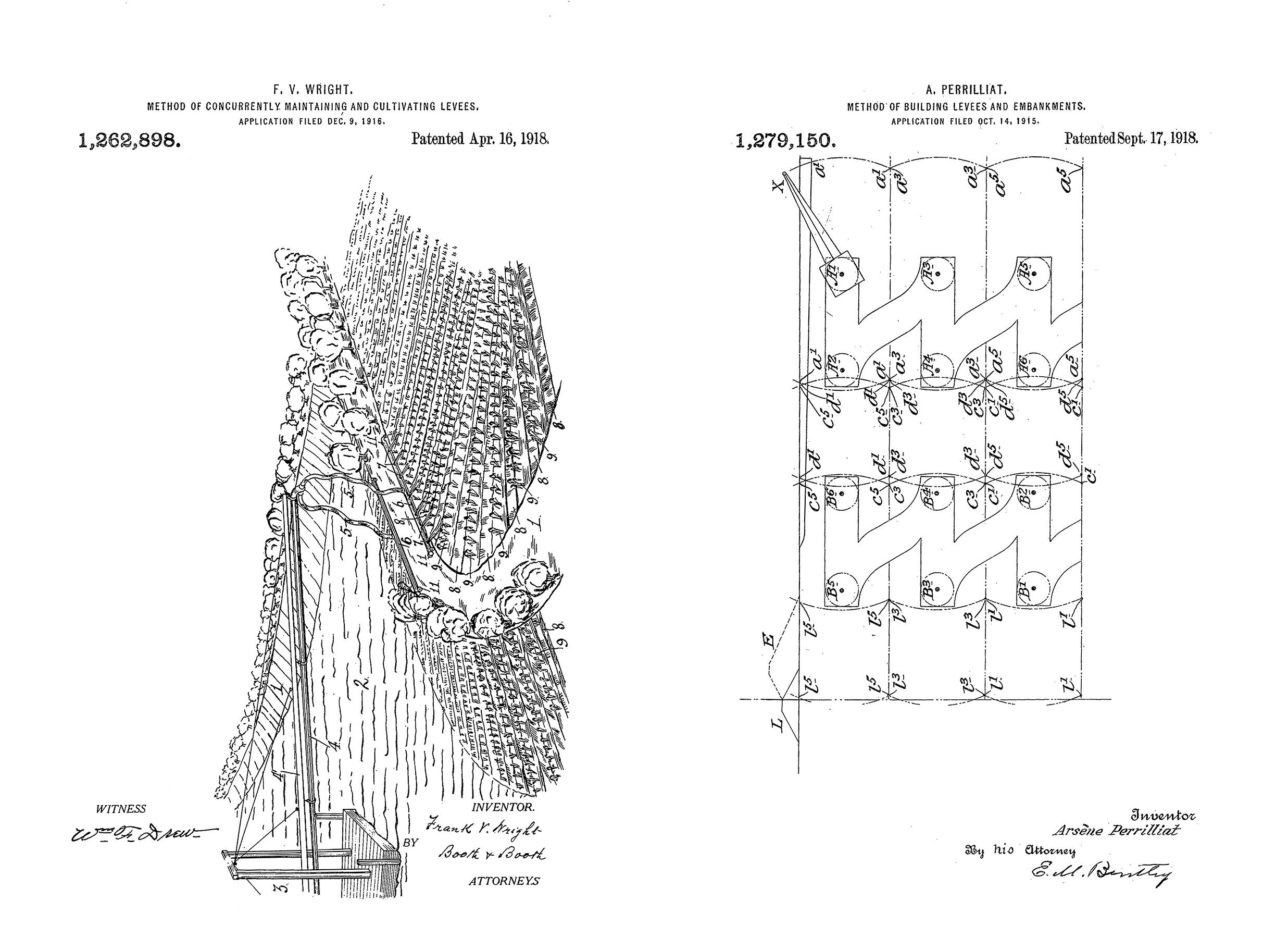 "Left: US1262898 ""Method of Concurrently Maintaining and Cultivating Levees:"" hybridizes agricultural production with levee building through the use of sediment slurries, irrigation trenches, and specialized hydraulic dredges like the Chinampa of Mexico. Right: US1279150 ""Method of Building Levees and Embankments:"" choreographs the movement of a dragline excavator through the landscape and describes the relative ratio of burrow pits to levee height and the most efficient movement of machinery and material. Images from USPTO.gov."