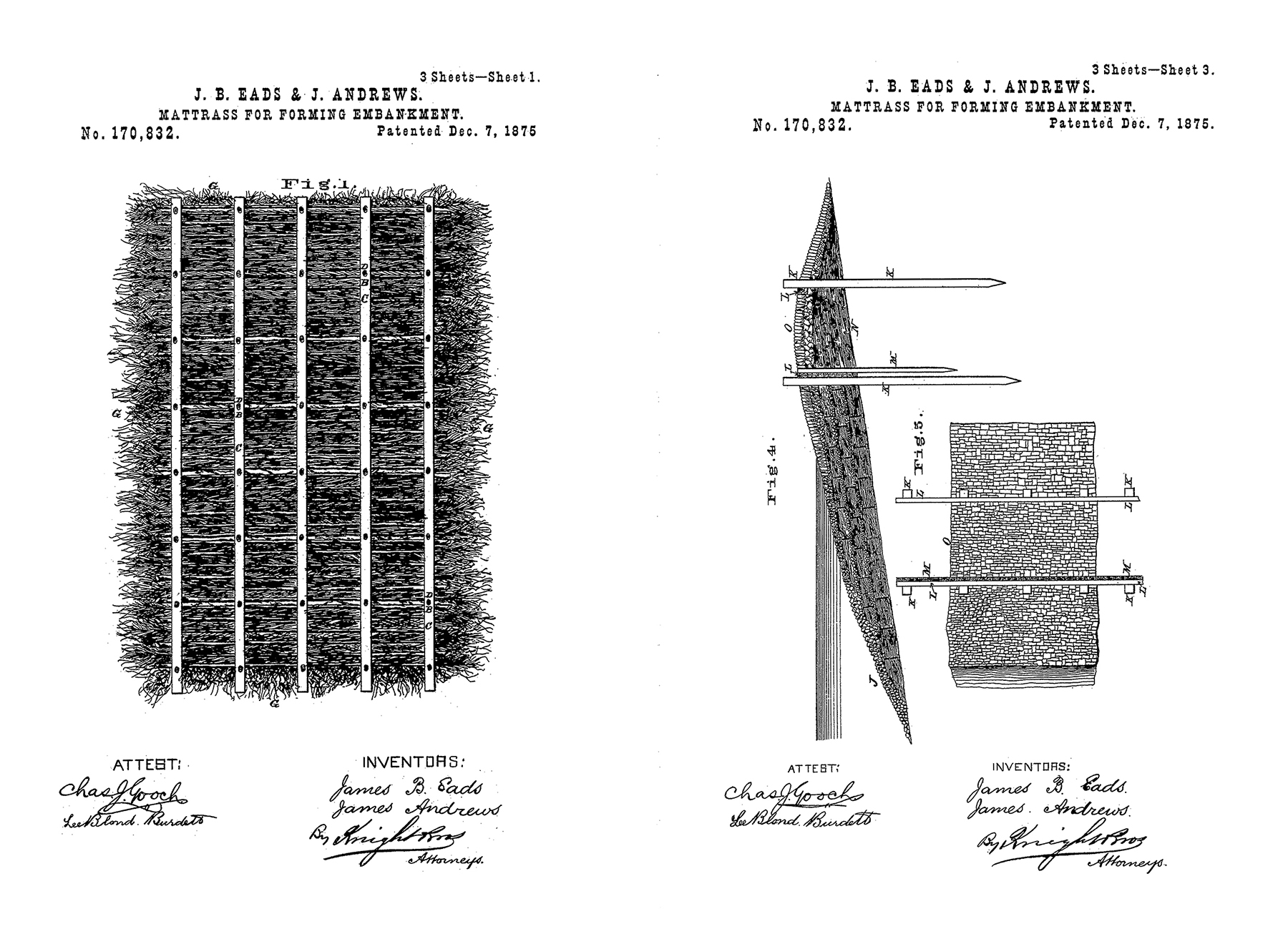 "Patents have been used as a ""stick"" to break government monopolies and promote innovation in physical infrastructure. James Buchanan Eads' precedent ""Mattress for Forming Embankment"" was prototyped and tested for four years at the mouth of the Mississippi River against the will of the USACE. Images from USPTO.gov."