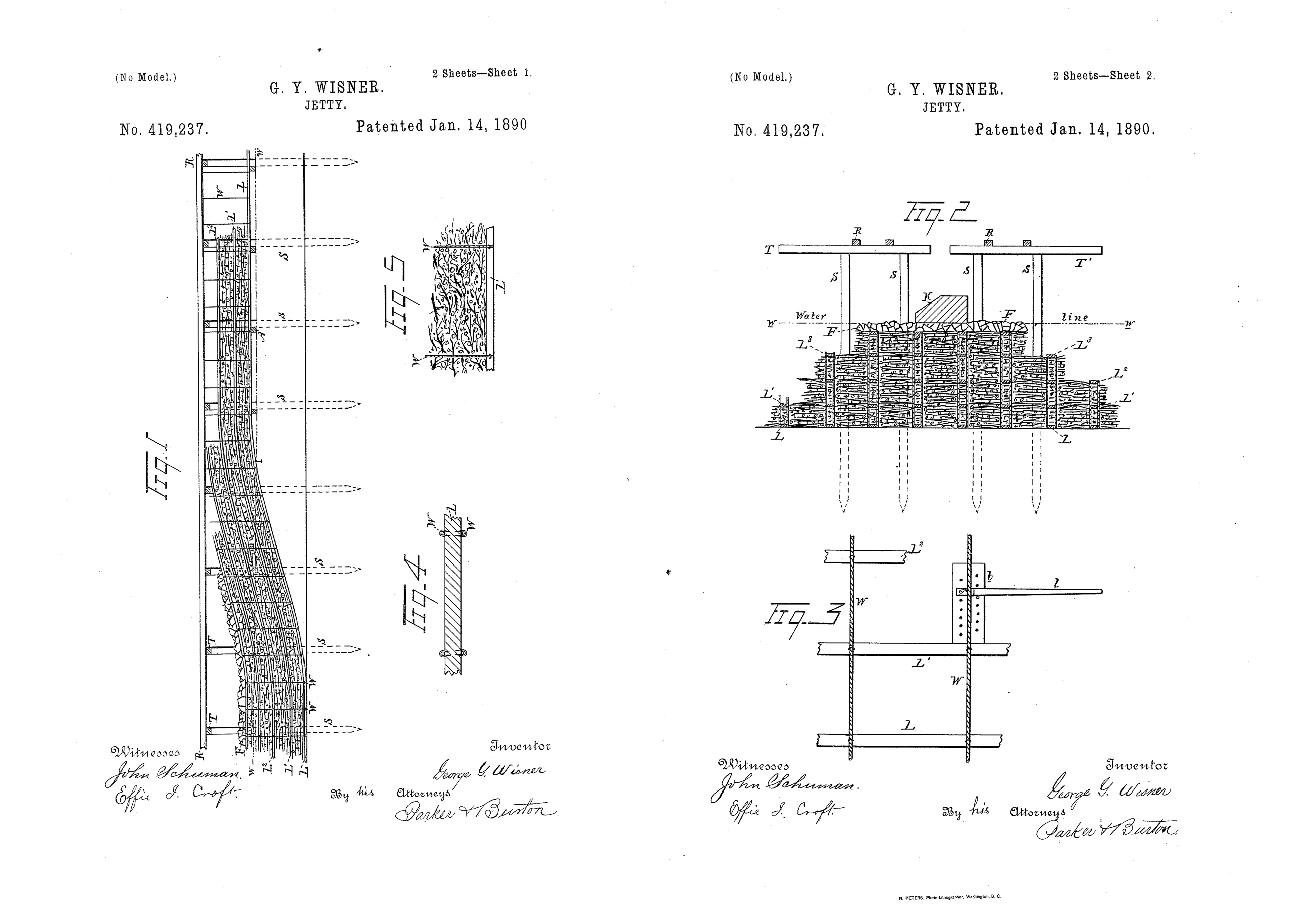 Engineers mimicked Eads precedent and patented experimental technologies, including the new jetty systems such as US419237 (right) by George Wisner—who prototyped his system at the mouth of the Brazos River after failure of a USACE jetty. Images from USPTO.gov