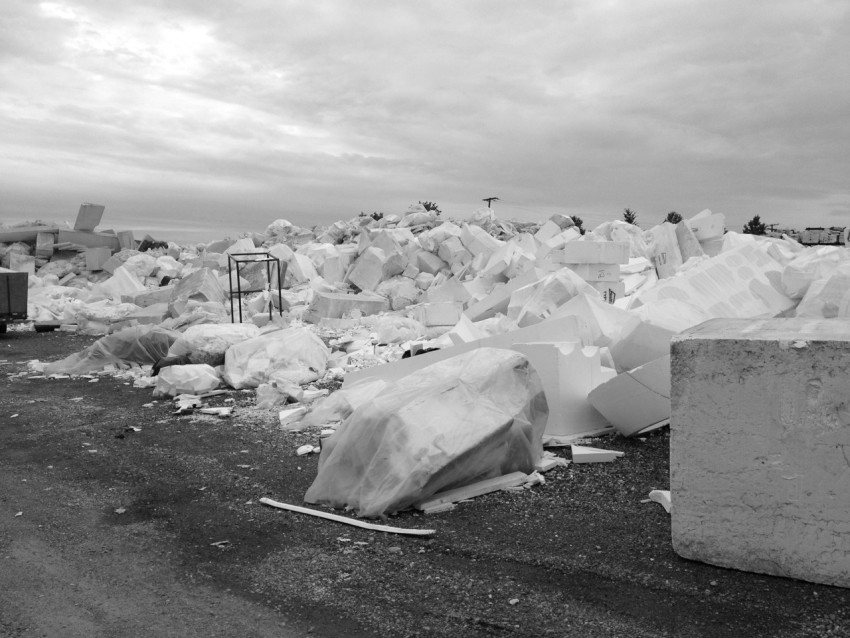 Recycle yard for polystyrene waste at Mansonville Plastics, Abbotsford, British Columbia.