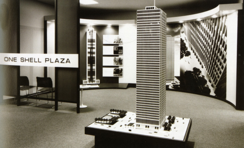 Promotional display of One Shell Plaza, Houston, Texas, SOM (architects), Gerald Hines (developer), 1971.