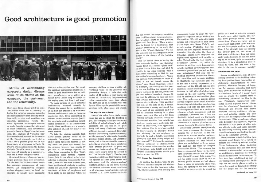 """Good Architecture Is Good Promotion,""Architectural Forum, vol.113 (July 1960): 88–89."
