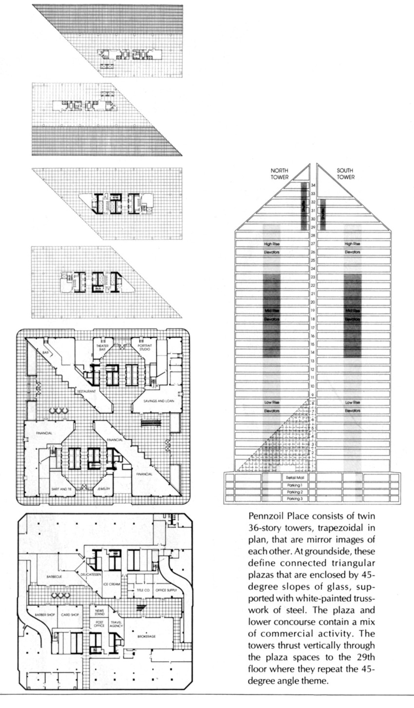 "Plans and sections of Pennzoil Place, as published in William Marlin, ""Pennzoil Place,"" Architectural Record 160, no. 7 (November 1976): 102."