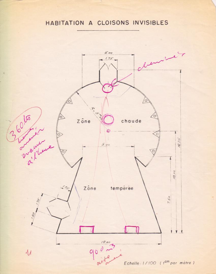 Notes and comments on the keyhole shaped floor plan of La Maison à Cloisons Invisibles, 1957. Courtesy of Eléonore de Lavandeyra-Schöffer.